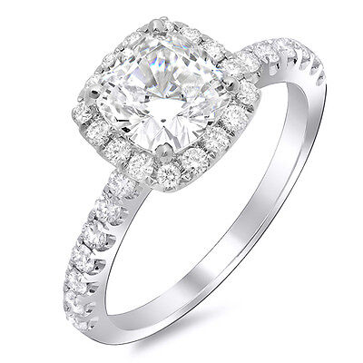 1.50 Ct. Cushion Cut Diamond Halo Engagement Ring w/ Band F ,IF GIA 14K New 1