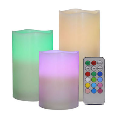Color changing pillar wax led candle light, flameless battery operated glowing