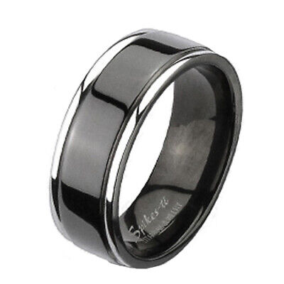 CLOSEOUT! Titanium Flat 2-Tone Grooved Black Stripe Wedding Band Ring Size 5-7 Flat Grooved Wedding Ring