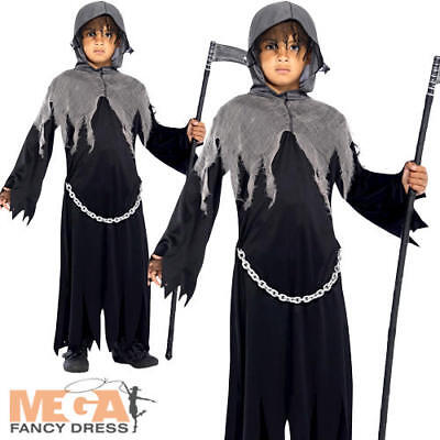 Grim Reaper Boys Fancy Dress Halloween Soul Taker Scary Childrens Kids Costume (Soul Taker Kids Costume)
