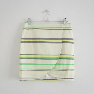 HOF115: & Other Stories Rock gestreift weiß / Striped print wrap skirt 34 UK 8 - Baumwolle Gestreiften Wrap