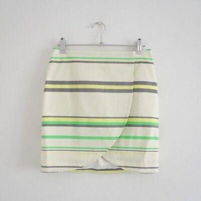 HOF115: & Other Stories Rock gestreift weiß / Striped print wrap skirt 34 UK 8 ()