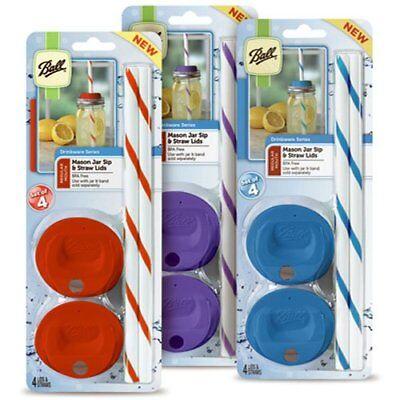 12pk Ball Mason Jar Regular Mouth Drinking Straw Lids (12 Lids 12 Straws)3 Color](Plastic Mason Jar Lids)