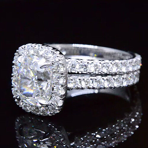 2.20ctw Natural Cushion Halo Pave Diamond Engagement Bridal Set - GIA Certified