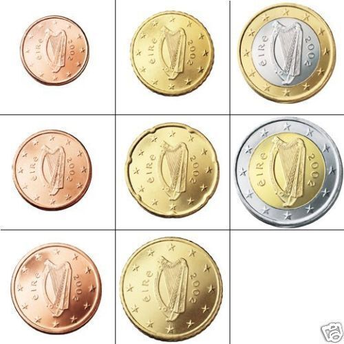 Set Of Irish Euro Coins - Genuine Currency - Ireland