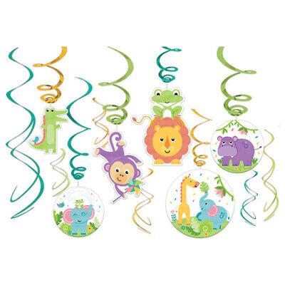 FISHER PRICE Hello Baby HANGING SWIRL DECORATIONS (12pc)~ Shower Party - Fisher Price Baby Shower Decorations
