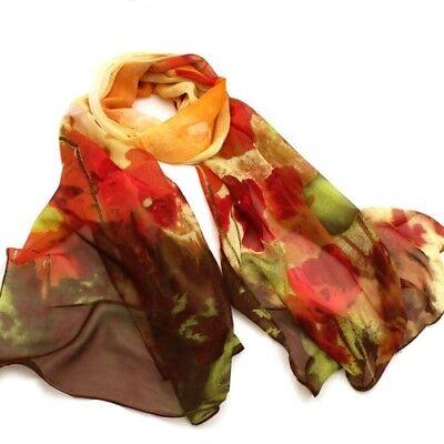 Watercolour Poppy Floral Print Lady Women Shawl Wrap Silk Feel Chiffon Scarf