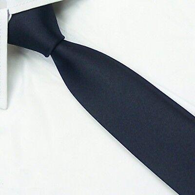 (Handmade Men's Wedding Tie 100% Silk Narrow Slim Necktie Solid Navy Blue SK18 )