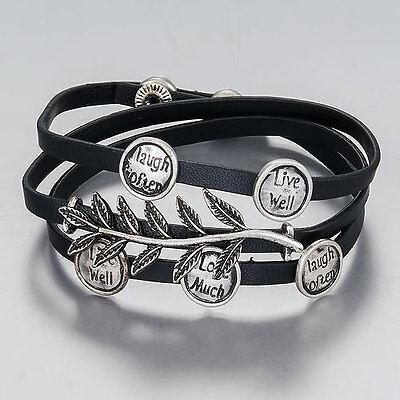 Antique Silver Finish Brown Leather Wrap Around Message Leaf Design - Antique Brown Leather Bracelet