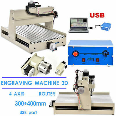 Usb 4 Axis 3040 Cnc Router Engraver 3d Diy Engraving Doy Cutter Machine 400w Rc