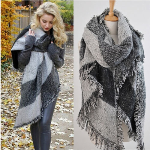 USA Women Long Cashmere Winter Wool Blend Soft Warm Scarf Wrap Shawl Plaid Scarf