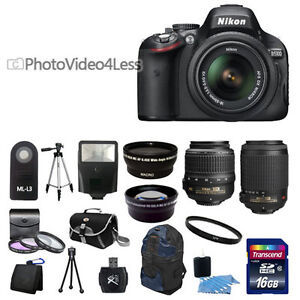 NEW Nikon D5100 Digital SLR Camera + 4 Lens: 18-55mm 55-200 + 24GB Complete Kit