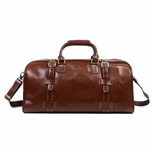 Huntvp Mens Travel Duffel Bag Weekend Carry On Tote Gym Bags Genuine Leather