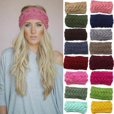 Women Crochet Headband Knit Flower Hairband Ear Warmer Winter