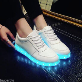 MULTICOLOUR LED SHOES WHITE TRAINERS WITH USB CHARGER SNEAKERS PUMPS IDEAL CHRISTMAS PRESENT