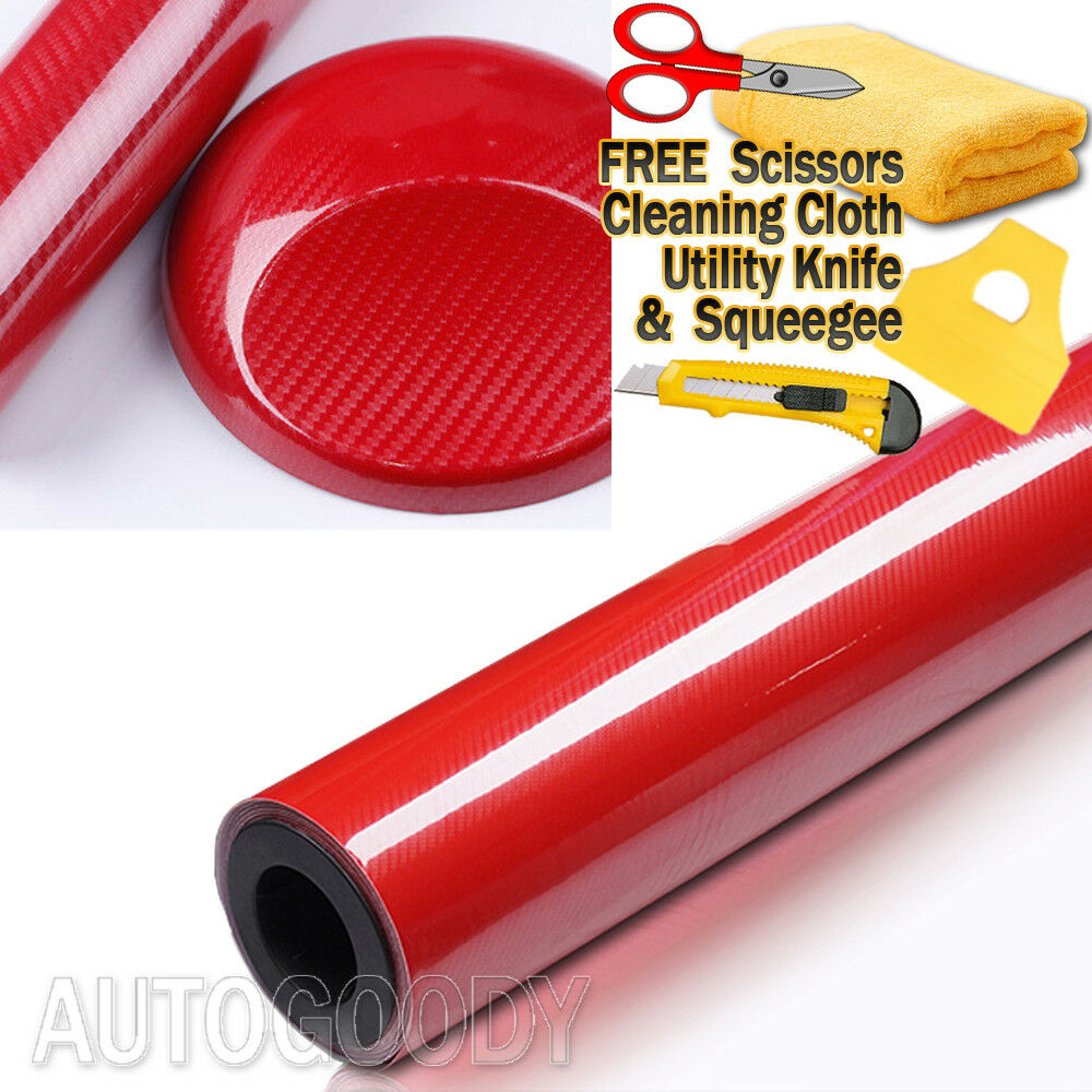 Choose Color:High Gloss Red:7D Premium Super Gloss Carbon Fiber Vinyl Film Wrap Bubble Free Air Release 6D