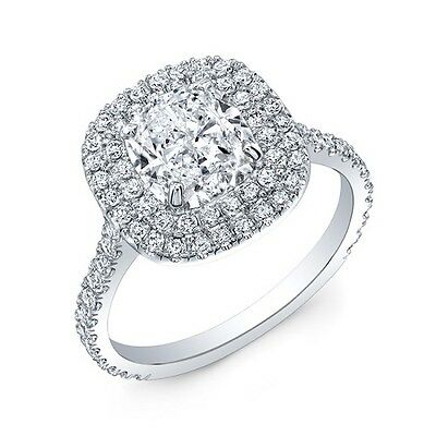 Fine 1.88 Ct Cushion Cut Diamond Halo Round U-Setting Engagement Ring H,VVS GIA  1