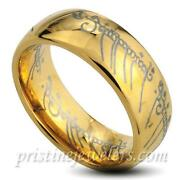 Mens Tungsten Ring Gold