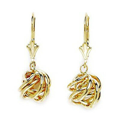 14K Solid 14 K Yellow Gold Dangle Love Knot Leverback Earrings 25X8mm  L66