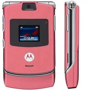 New Motorola RAZR V3 AT&T T-mobile Unlocked GSM Cell Phone Satin Pink Free Ship
