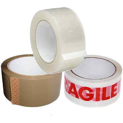 6 x Rolls Fragile Printed/Clear Sealing/Brown Packing Parcel Tape 48mm x 66m