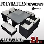 Gartenmöbel Polyrattan Schwarz