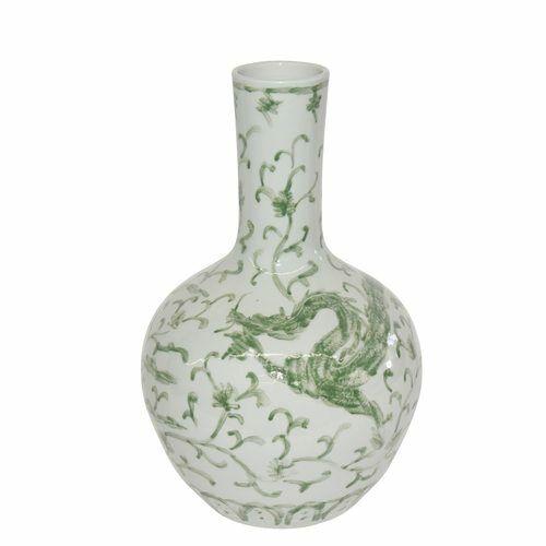 "Beautiful Green and White Porcelain Medallion Plum Shaped Vase Dragon Lotus 21"""