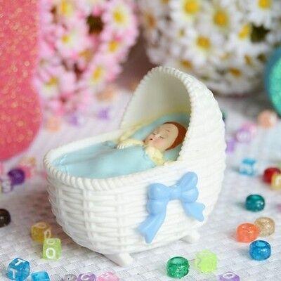Blue Bassinet with Sleeping Baby Boy Favor Craft DIY Baby Shower Gender Reveal (Diy Gender Reveal)