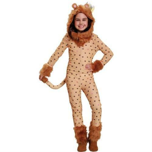 Girls Lion Costume Dress Up Pretend Play Theater Hooded Jumpsuit Small 4-6
