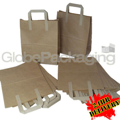 500 MEDIUM BROWN KRAFT PAPER CARRIER BAGS 8x4x10