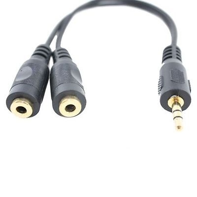 """6"""" 1 Male to 2 Female Gold Plated 3.5mm Audio Y Splitter Headphone Cable Black"""