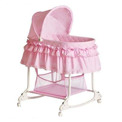 Baby Bassinet Crib Cradle Newborn Furniture Nursery Girl Caster Sleeper Bedding