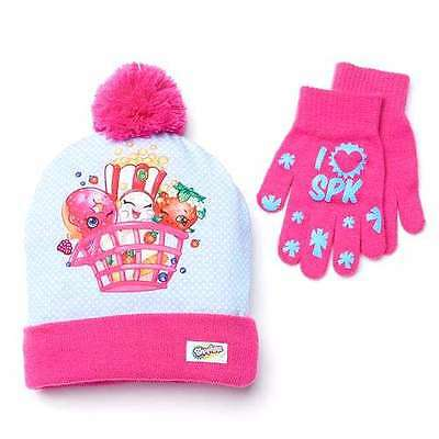 "New Girls ShopKins "" I Love SPK"" Pink Beanie Cap Hat And Gloves Set"