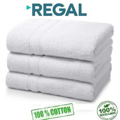 6 pack white regal collection 22x44 hotel bath towels 100% organic cotton