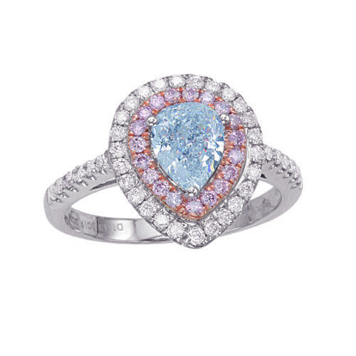 Real GIA 1.68ct Natural Fancy Light Blue & Pink Diamonds Engagement Ring 18K