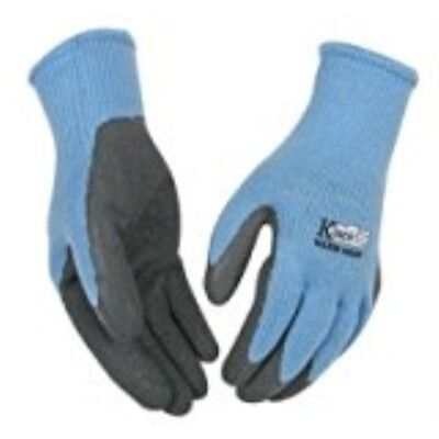(KINCO 1790W-S Women's Warm Grip Thermal Latex Coated Gloves, Small, Blue/Gray)