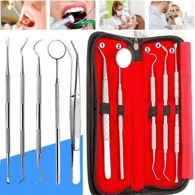 Us 5 Set Of Stainless Steel Dentist Tools Hygiene Cleaning Tooth Dental Pick Kit