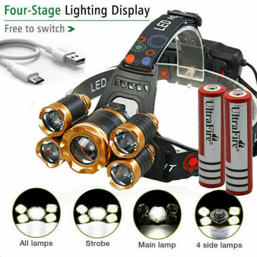990000LM 5X T6 LED Headlamp Rechargeable Head Light Flashlight Torch Lamp USA Camping & Hiking