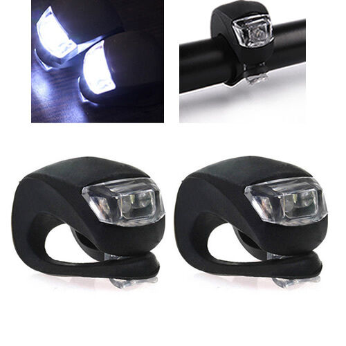 4PCS LED Silicone Mountain Bike Bicycle Front Rear Set Push Cycle Clip Light