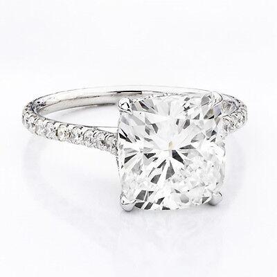 3.20 Ct Cushion Cut Round U-Set Diamond Engagement Ring H,VS1 GIA Cert Platinum 2