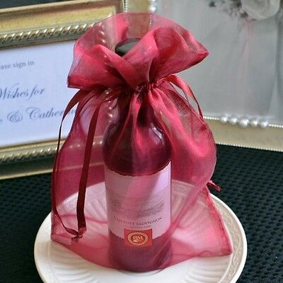 10x Burgundy Red Organza Favor Bags 6x9 Pouches Wedding Gift Bags Drawstring