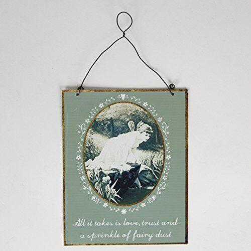 "Vintage ""Sprinkle of Fairy Dust"" Sign Hanging Decoration 17x14cm Sass & Belle"