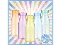 Plastic Drinking Milk Bottles With Straws Smoothie Milkshake Party