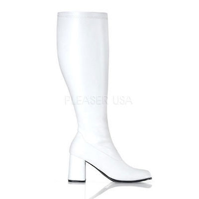 White Stretch Knee High Dallas Cowboy Cheerleader Boots Wide Calf Gogo-300WC](White Boots Wide Calf)