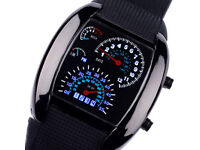 REV COUNTER TACHOMETER LED DIGITAL WRIST WATCH SPEED DIAL SPEEDOMETER STYLE TIME