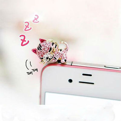 Beautiful sleepy kitten Anti Dust Ear Cap Plug For Phone iPhone 4G 4S 3G 3.5mm on Rummage