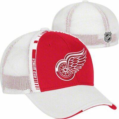 Detroit Red Wings NHL Reebok Red / White Mesh Center Ice Hat Cap Flex Fit L/XL