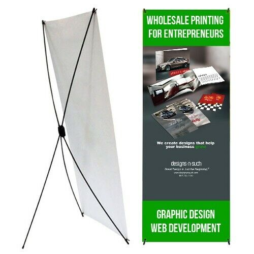 "Economic -  X Banner Display Stand 24"" wide 63"" tall + travel bag Trade Show"