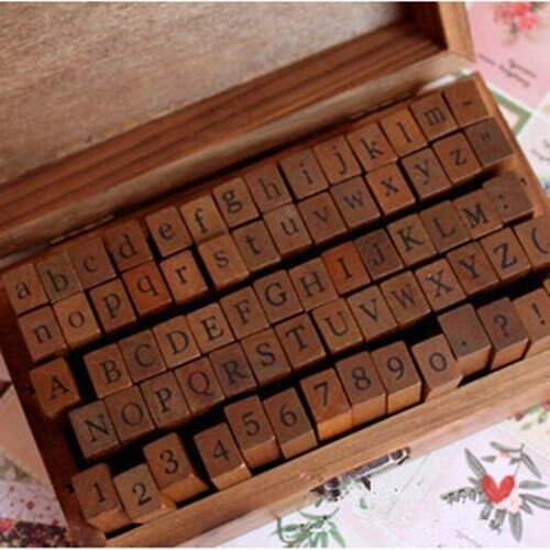 70Pcs-Vintage-Wooden-Box-Case-Rubber-Stamps-Set-Alphabet-Letters-Number-Craft