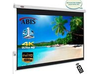 "ABIS 100"" Electric Motorised HD Projector Screen 16:9 Native Screen With Remote"